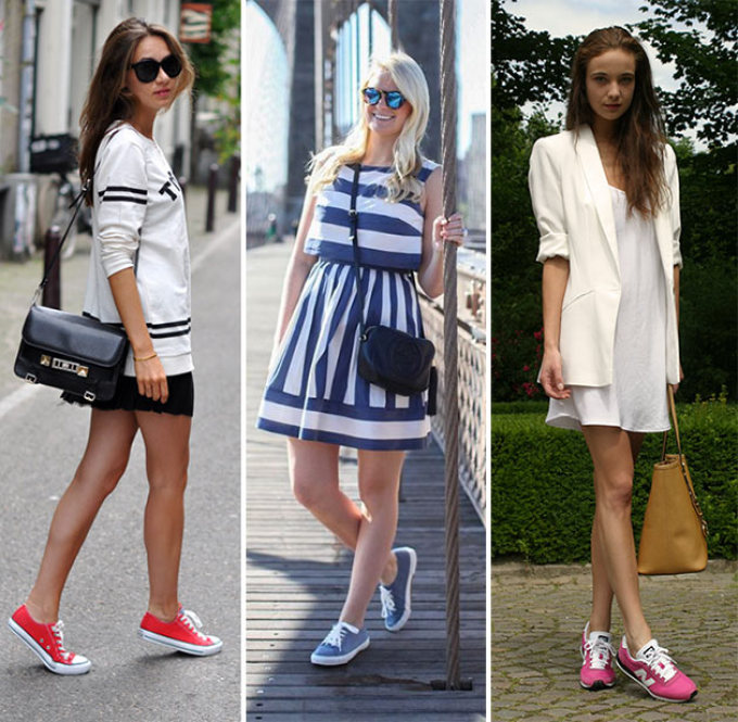 Платья в сочетании кроссовок