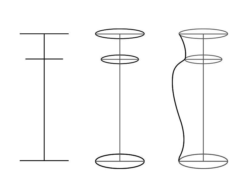 Ваза поэтапно: обозначение плоскостей.