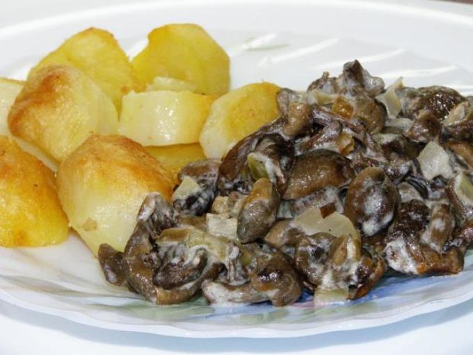 Рецепт грибов вешенки жареные с картошкой