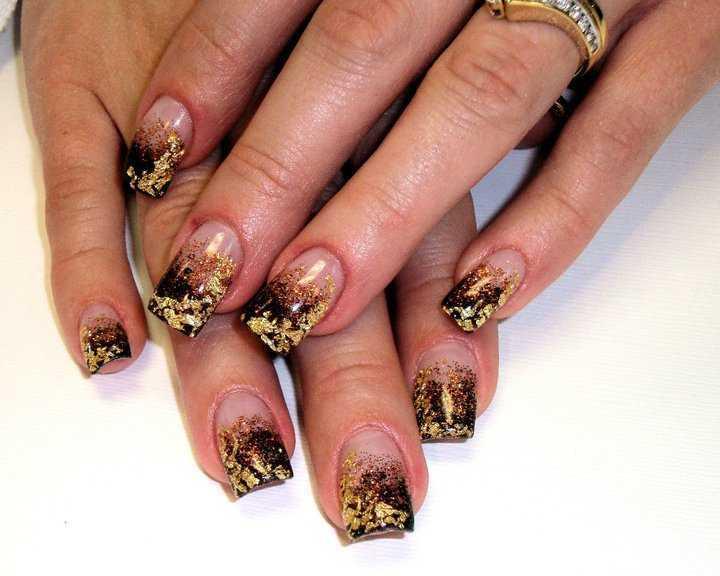 Наращивание ногтей дизайн с золотом
