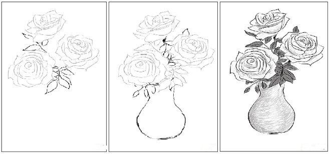 Ваза с розами, нарисованная карандашом.