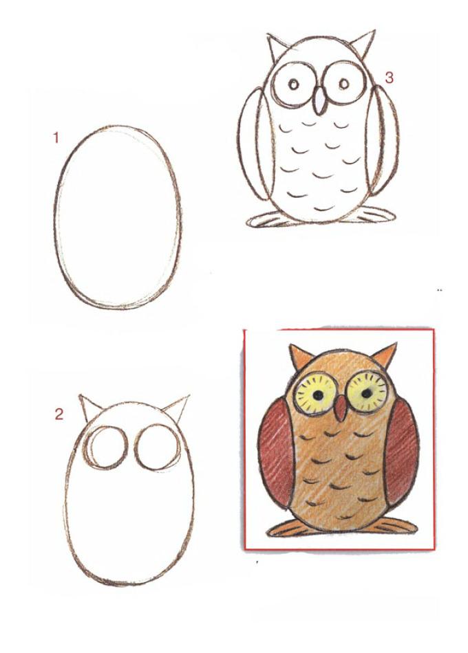 Как рисовать сову поэтапному