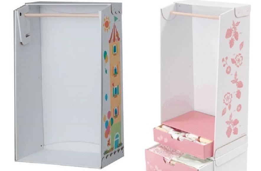 Плательный шкаф для кукол из картона