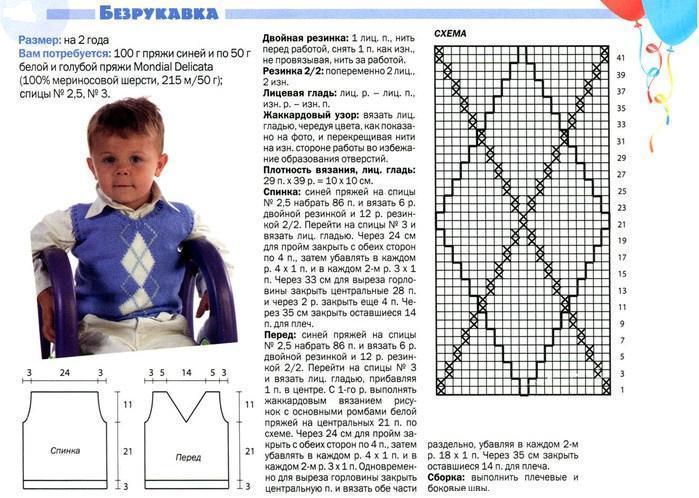 Вязание спицами жилет для мальчика 3 лет