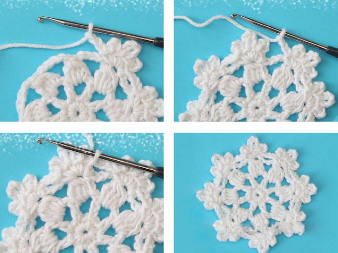 Как связать крючком салфетку маленькую белую в форме снежинок: схема с описанием, четвертый ряд