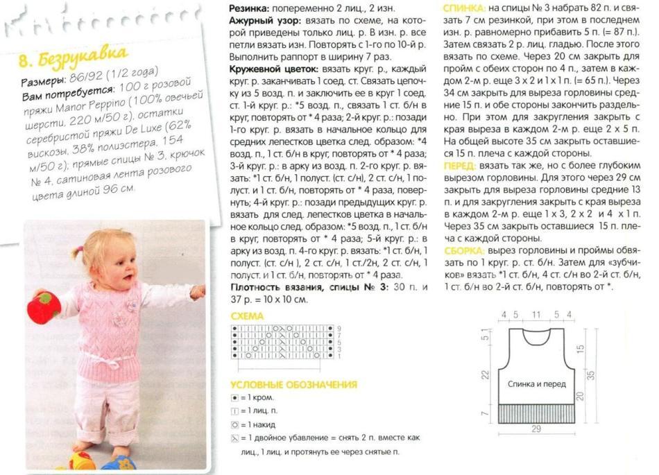 Вязание жилетки для девочки 3 лет с описанием и схемами спицами 38