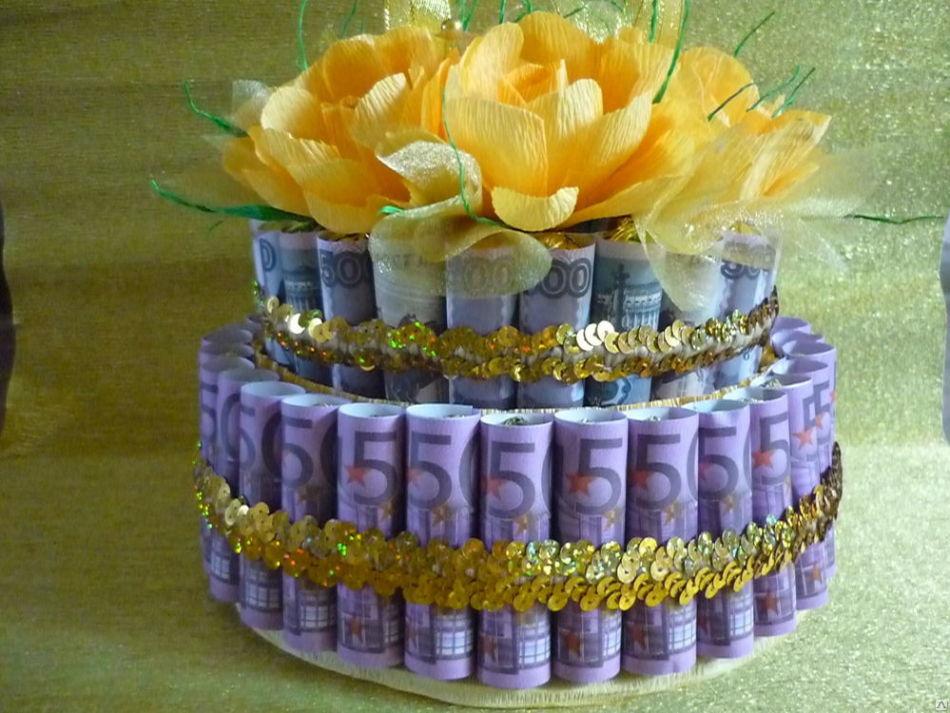 Как сделать торт из денег своими руками на свадьбу