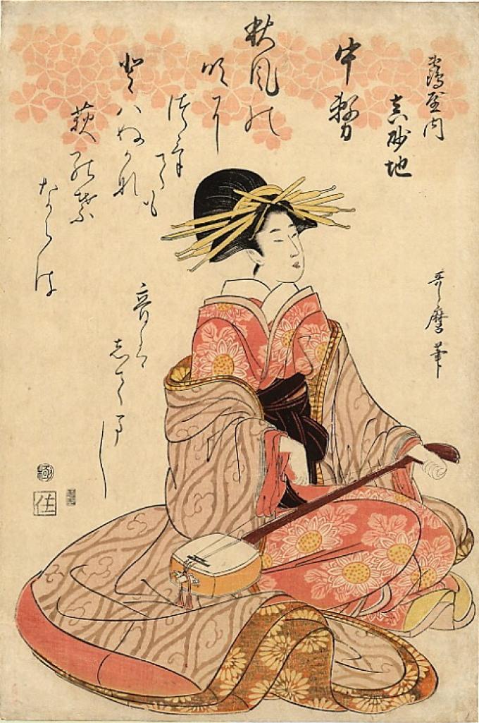 Японская живопись: гейша.