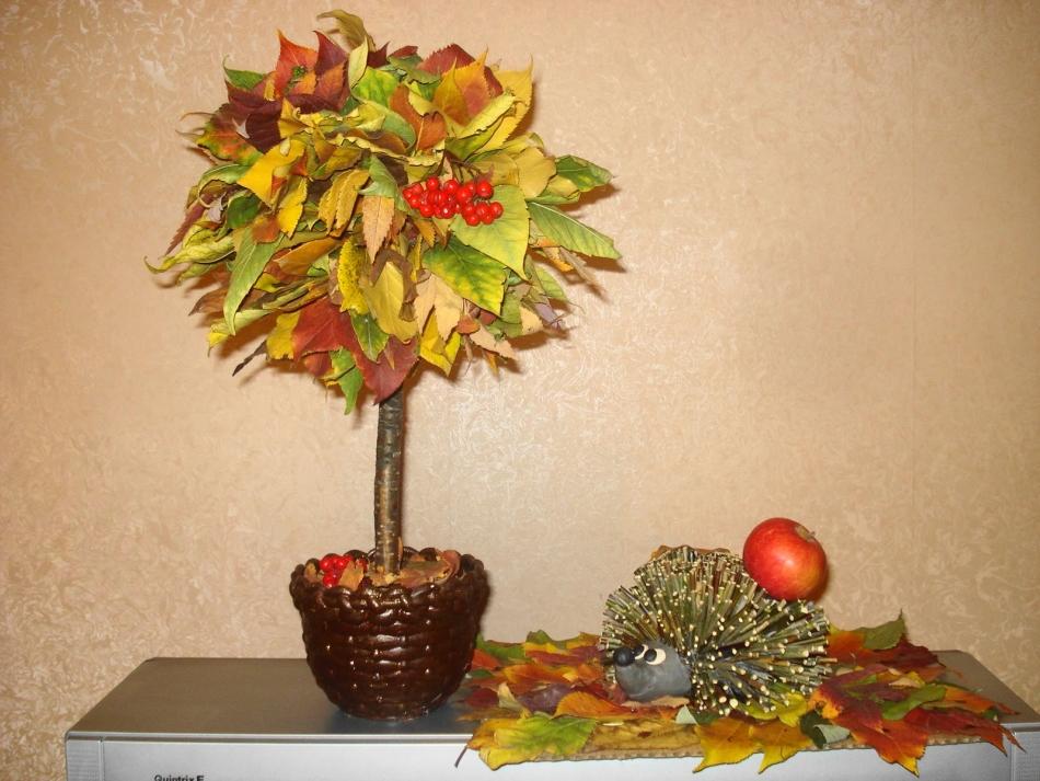 Топиарий из природного материала на тему осень