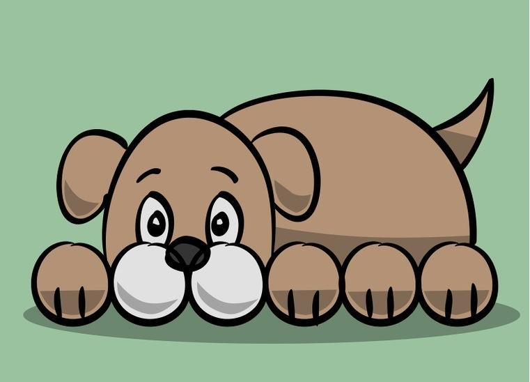 Лежащий щенок