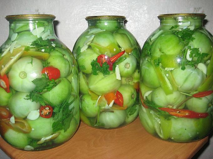 Зеленые помидоры консервировать рецепт