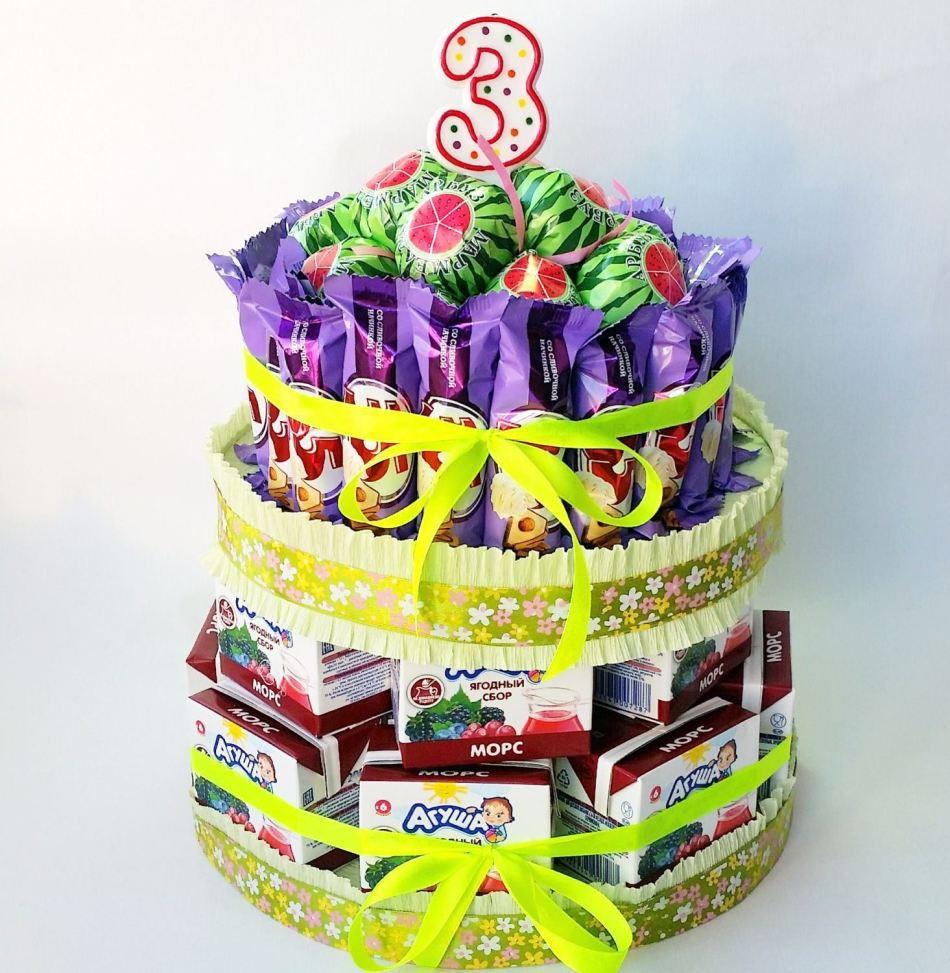 Тортики для детского сада из сока и конфет своими руками фото 24