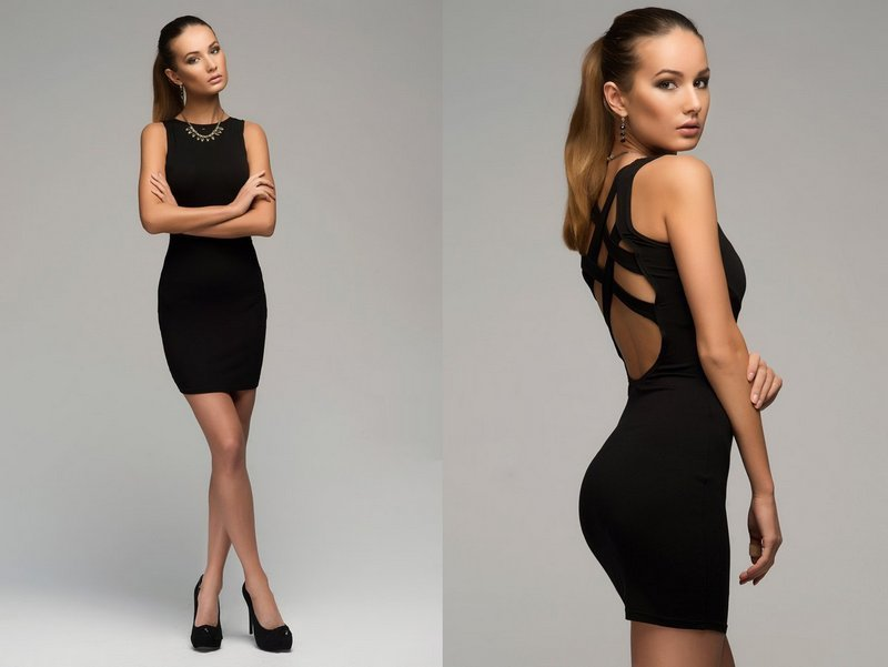 Платье черные в облипку