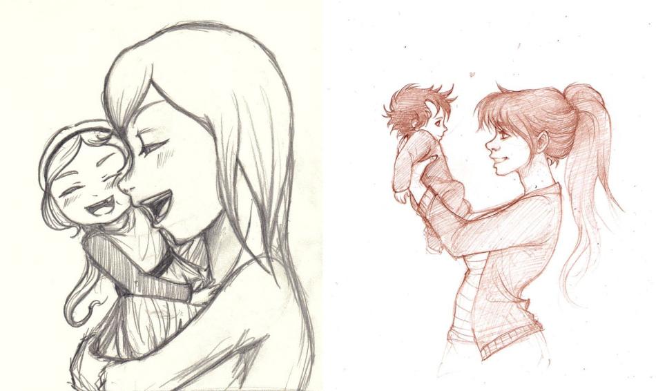 Рисунок мамы с ребенком на тему день матери карандашом поэтапно для начинающих и детей. Как нарисовать портрет мамы и ребенка ка