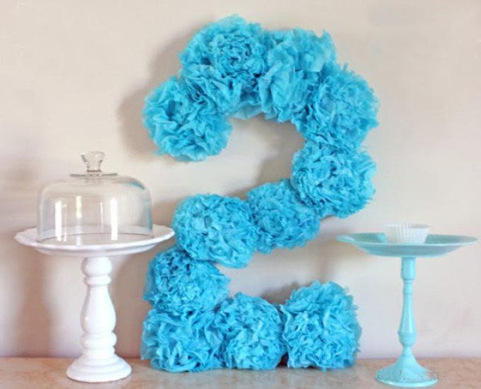 Как сделать цифру 1 на день рождения ребенку салфетками 173