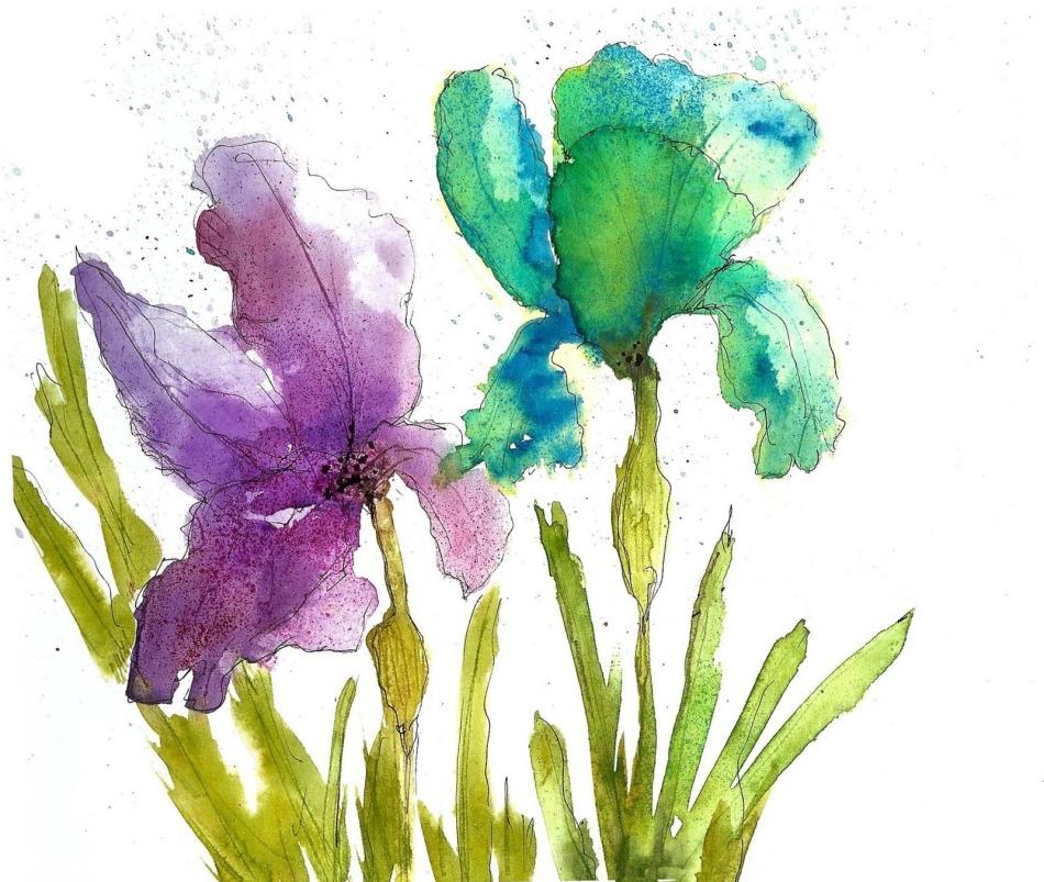 Рисуем цветы акварелью поэтапно
