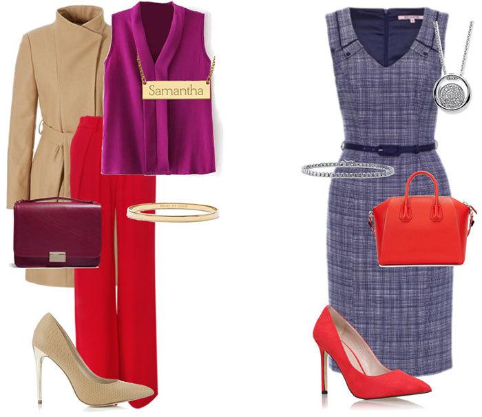 Сочетать фиолетовый и красный лучше всего на фоне одного нейтрального, например, надев серое платье и подобрав под него красные туфли и фиолетовую сумочку