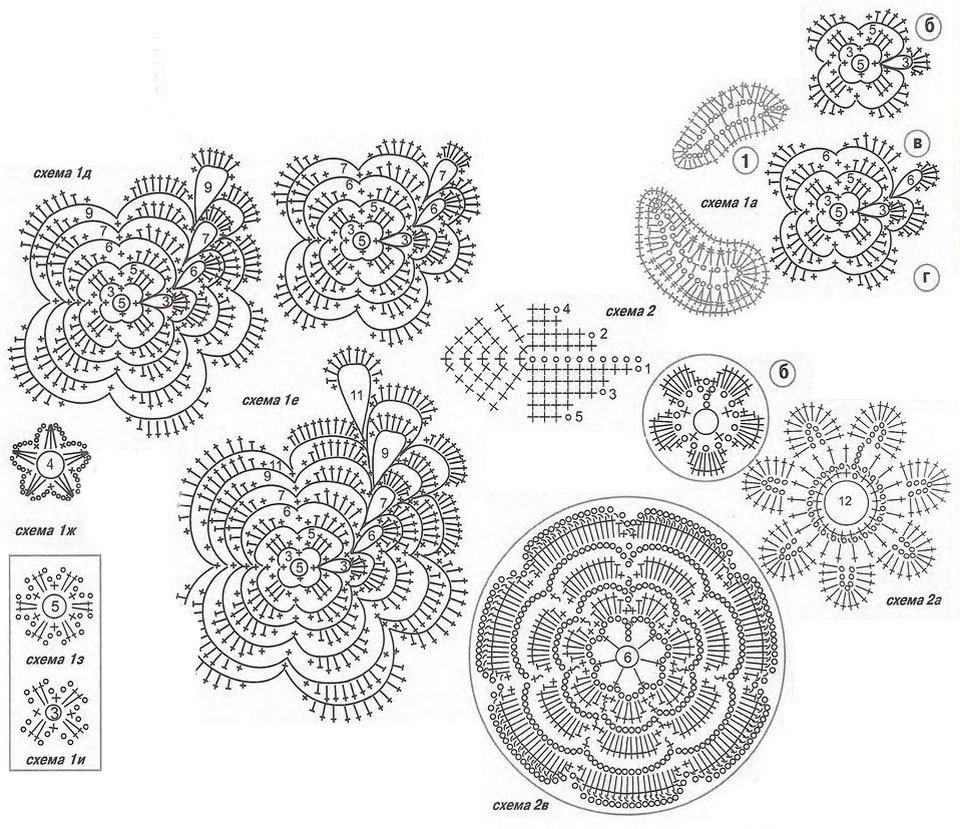 Схемы вязания крючком элементы 43