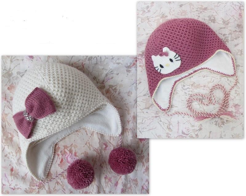 Двухцветные вязаные шапки для девочки 2-3 лет