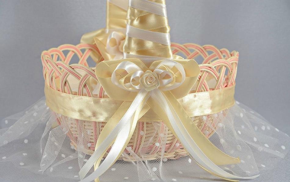 Оформление свадебной корзины своими руками