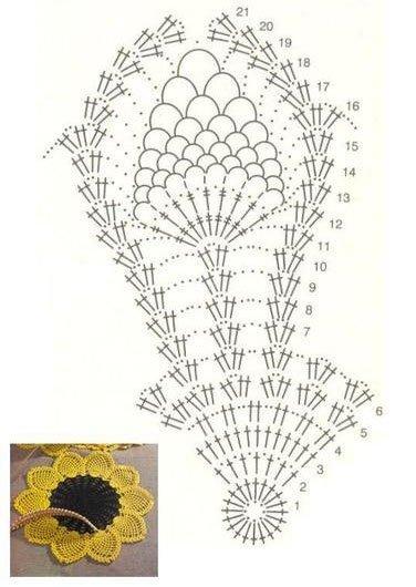Как связать крючком салфетку подсолнух: схема с описанием