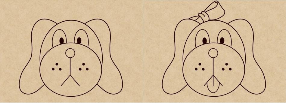 Как нарисовать грустного щенка и веселого щенка-девочку