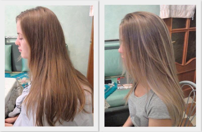Осветление волос фото до и после