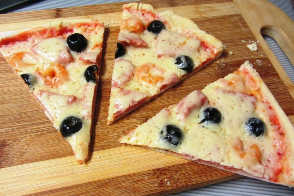 Простой рецепт пиццы без сыра на сковороде