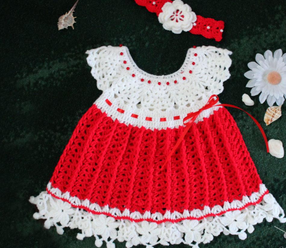 Красно-белое платье