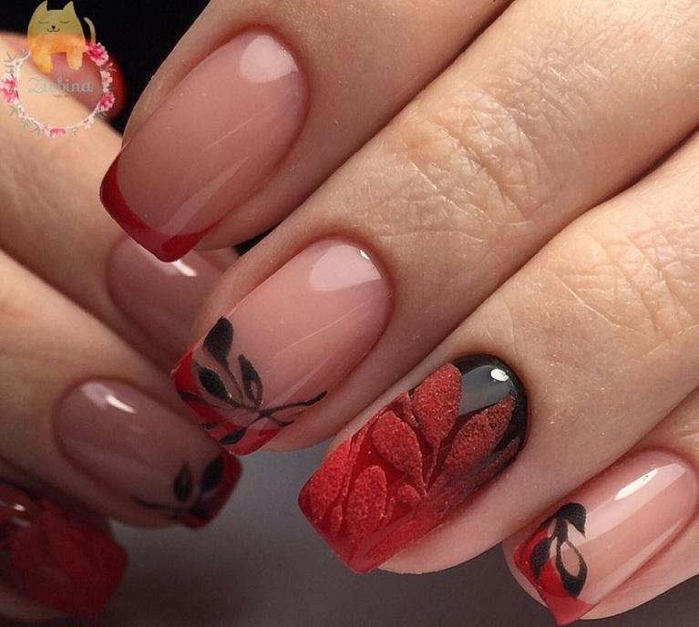 Красные ногти дизайн весна  2018 61