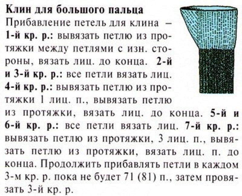 Вязание варежек с пальцем клином 154