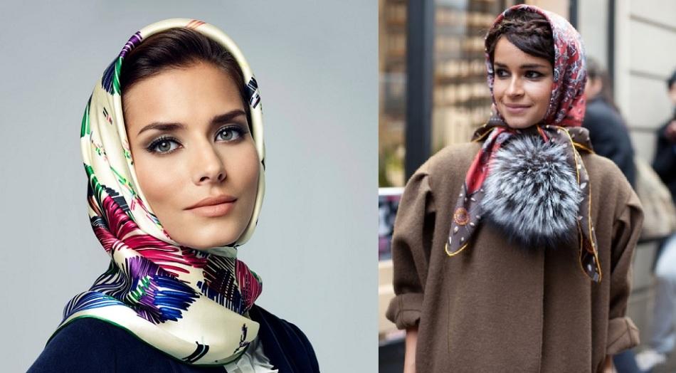 Как завязать шарф на голову под пальто