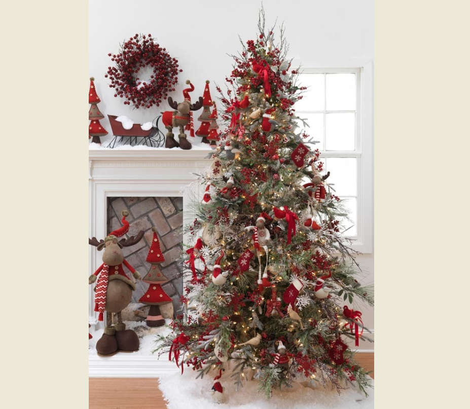 Красивое украшение елки в красно-белом цвете: идеи