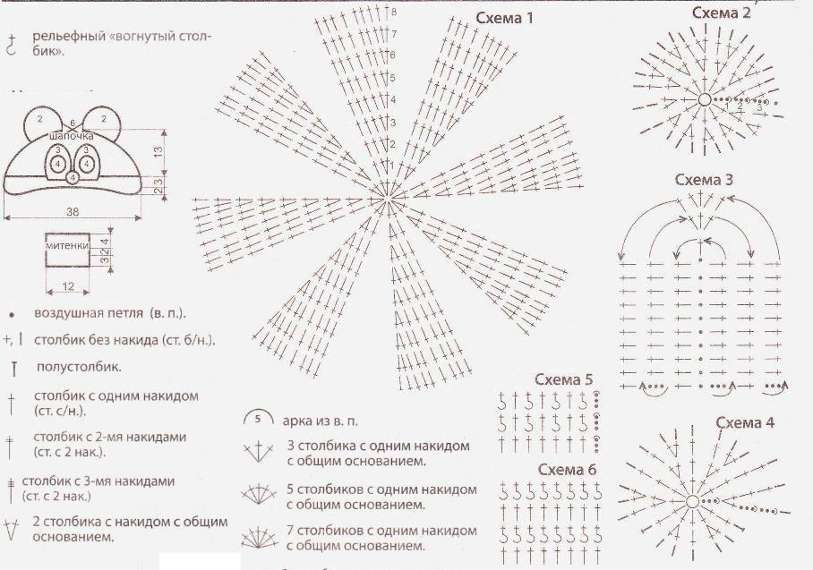 Вязаная зимняя шапка крючком схема и описание7