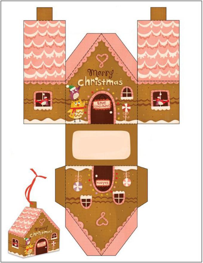 Как сделать новогодний домик из бумаги схемы