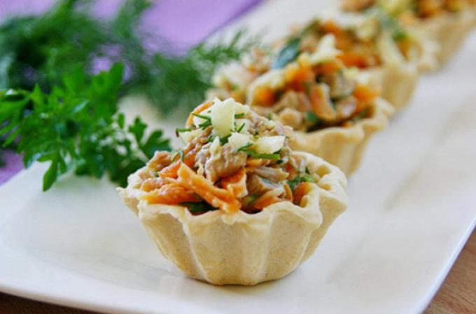 Тарталетки с салатом с самые вкусные