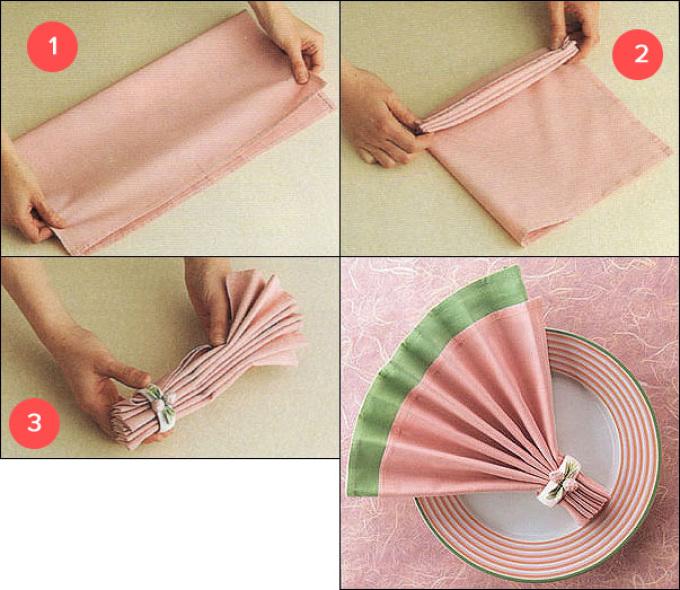 Сервировка стола салфетками из ткани