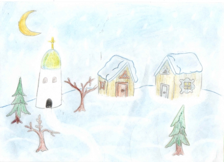 3 класса ресунки зимы деревни