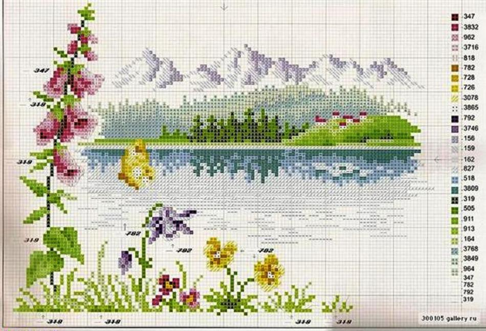 Схемы вышивки красивый пейзаж