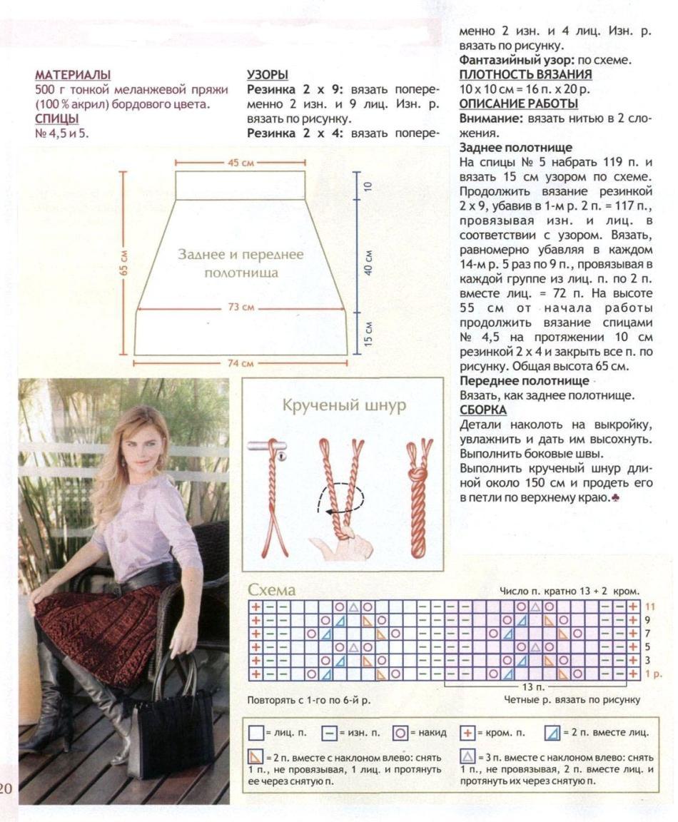 схемы вязаных юбок на девочку 6 лет