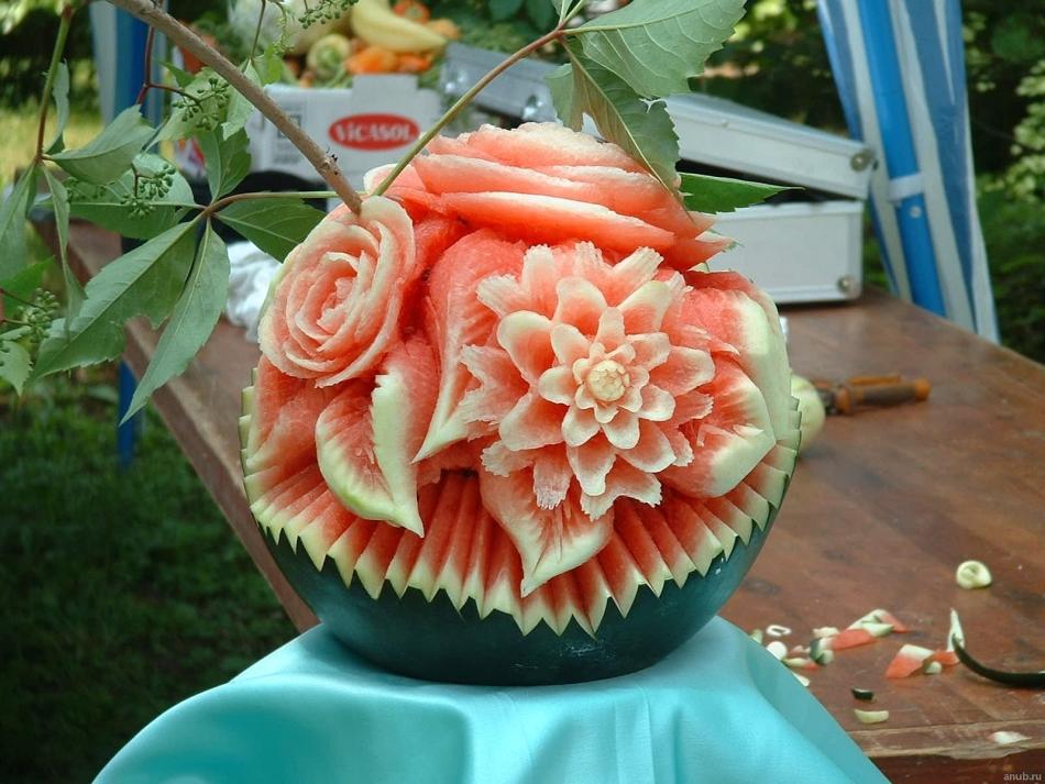 как красиво нарезать арбуз на стол фото