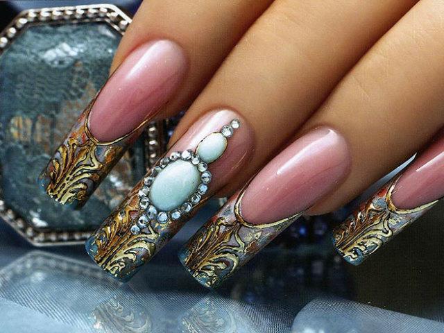 Френч на ногтях золото и серебро 20