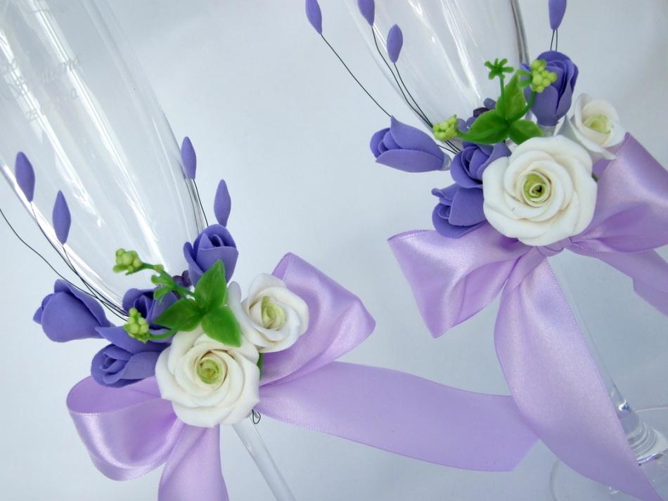 Фиолетовые свадебные бокалы своими руками