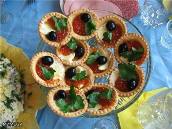 Тарталетки с икрой и сыром плавленным рецепт