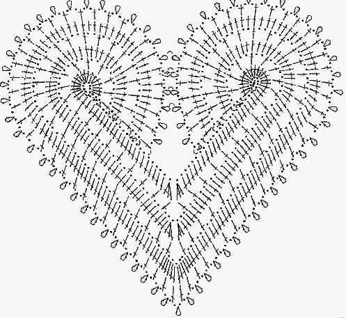 Как связать крючком салфетку в форме сердца: описание, схема