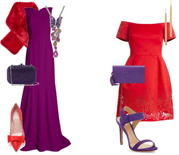 Для того, чтобы ваш образ не вызывал негативных эмоций, с ярким красным цветом лучше всего сочетать серо-фиолетовые аксессуары