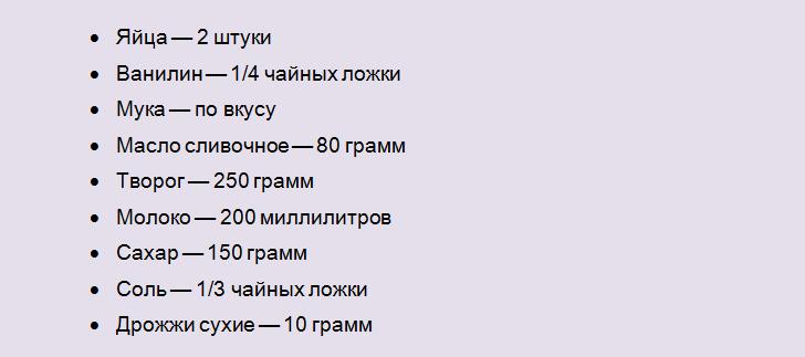 Список продуктов для ватрушки из творожного теста