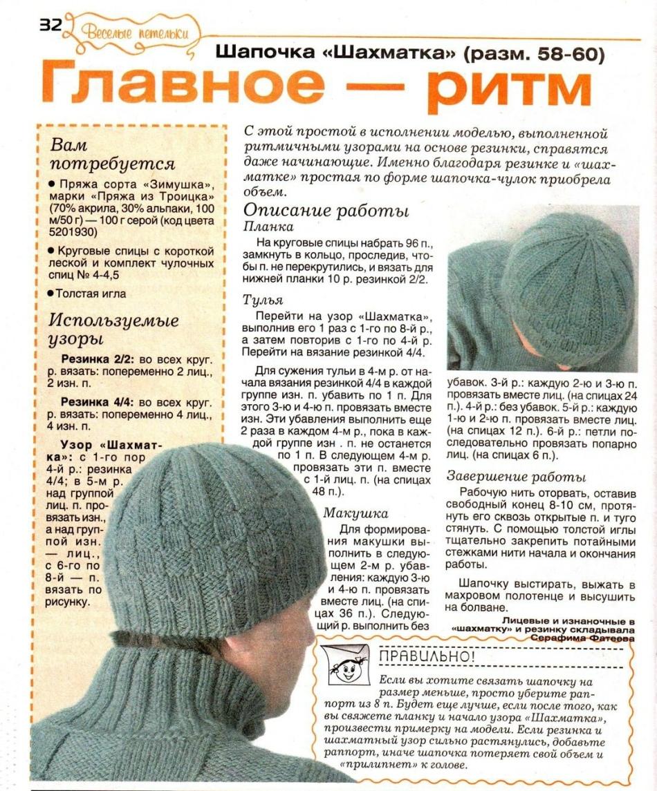 Правильное вязание шапок спицами