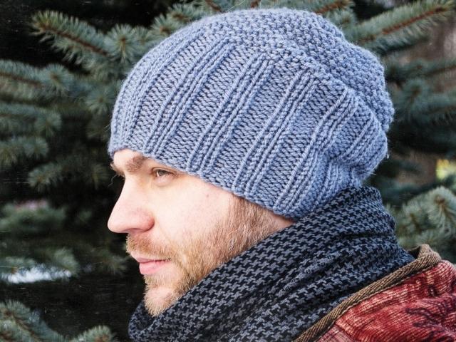 Вязание мужской шапки-бини спицами