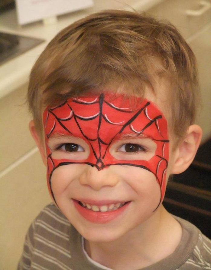 Аквагрим человек паук фото пошагово